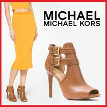 Michael Kors Open Toe Plain Leather Pin Heels Ankle & Booties Boots