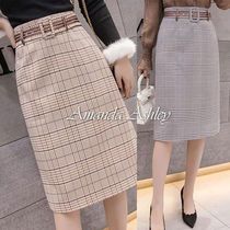 Pencil Skirts Other Check Patterns Casual Style Nylon Medium