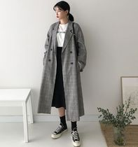 CHERRYKOKO Other Check Patterns Casual Style Long Midi Oversized