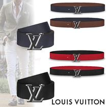 Louis Vuitton TAURILLON Bi-color Plain Leather Long Belt Belts