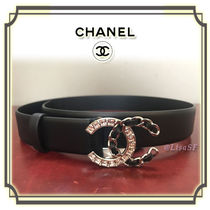 CHANEL Plain Leather Elegant Style Belts