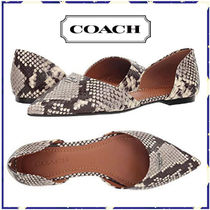 Coach Casual Style Leather Block Heels Python Ballet Shoes