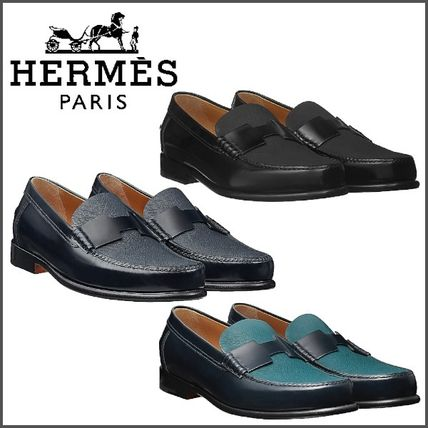 c27413ad271 HERMES Loafers   Slip-ons Loafers Street Style Bi-color Plain Leather U Tips  ...