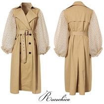 Dots Casual Style Blended Fabrics Plain Long Trench Coats