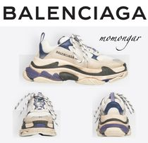 BALENCIAGA Triple S Unisex Blended Fabrics Leather Oversized Sneakers