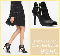 Michael Kors Open Toe Rubber Sole Plain Leather Elegant Style