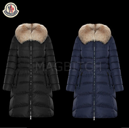 MONCLER Down Jackets Fur Street Style Plain Medium Down Jackets