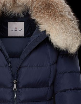 MONCLER Down Jackets Fur Street Style Plain Medium Down Jackets 10