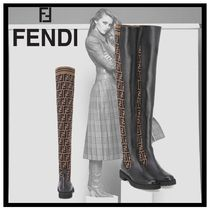 FENDI Monoglam Round Toe Rubber Sole Leather Over-the-Knee Boots