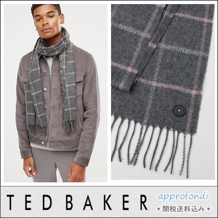 6538886a753 TED BAKER 2018-19AW Other Check Patterns Tassel Fringes Scarves by ...