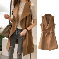 Casual Style Plain Long Vests