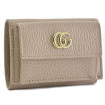 GUCCI GG Marmont Calfskin Plain Folding Wallets
