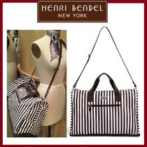 Henri Bendel Stripes Casual Style Nylon A4 Boston & Duffles