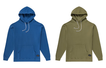 Pullovers Long Sleeves Plain Cotton Khaki Hoodies