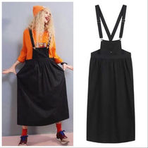 ELF SACK Casual Style Street Style Plain Medium Midi Skirts