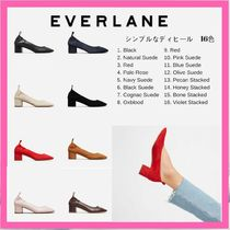 Everlane Plain Toe Casual Style Plain Leather Block Heels