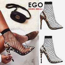 EGO Leopard Patterns Suede Pin Heels Elegant Style