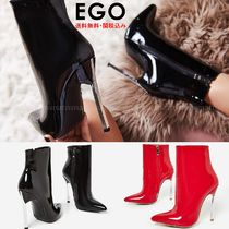EGO Casual Style Enamel Plain Pin Heels Ankle & Booties Boots
