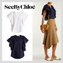 See by Chloe Cotton Medium Short Sleeves Office Style Shirts & Blouses