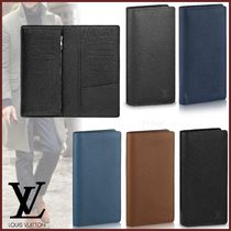 Louis Vuitton BRAZZA Street Style Plain Leather Folding Wallet Long Wallets