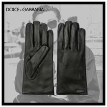 Dolce & Gabbana Plain Leather Leather & Faux Leather Gloves