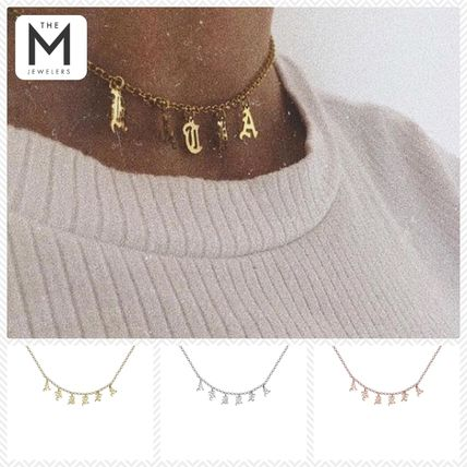 Casual Style Unisex Initial Street Style Silver With Jewels