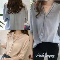 Casual Style Cropped Shirts & Blouses