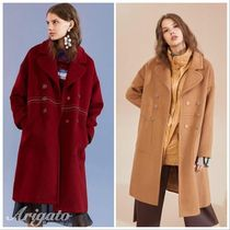 ELF SACK Casual Style Wool Street Style Plain Long Bold Chester Coats