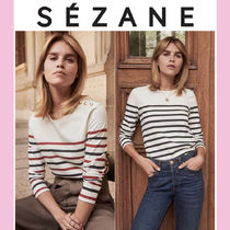 SEZANE Stripes Casual Style Long Sleeves Cotton Medium