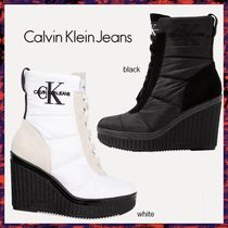 Calvin Klein Round Toe Casual Style Plain Leather Wedge Boots