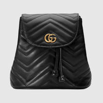 a29e66359499 GUCCI GG Marmont Casual Style Chain Plain Leather Backpacks