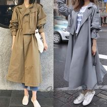 Plain Office Style Trench Coats
