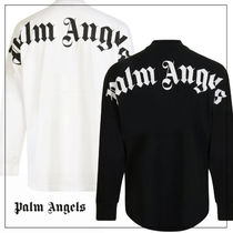 Palm Angels Crew Neck Pullovers Street Style Long Sleeves Cotton