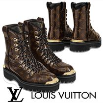 Louis Vuitton MONOGRAM Monogram Plain Toe Leather Boots