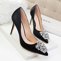 Pin Heels Party Style With Jewels Pointed Toe Pumps & Mules