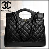 CHANEL Lambskin Plain Office Style Totes
