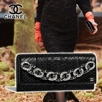 CHANEL Blended Fabrics Vanity Bags Chain Leather Home Party Ideas