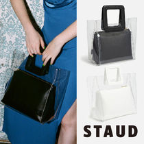 STAUD Casual Style Bag in Bag Plain Leather Handbags