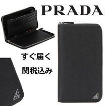 PRADA SAFFIANO LUX Unisex Street Style Plain Leather Long Wallets