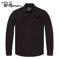 Ron Herman Unisex Long Sleeves Plain Cotton Handmade Shirts