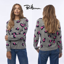 Ron Herman Crew Neck Leopard Patterns Casual Style Cashmere
