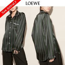 LOEWE Stripes Silk Long Sleeves Medium Elegant Style