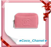 CHANEL Plain Leather Coin Purses