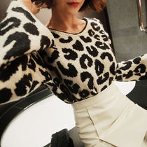 Leopard Patterns Casual Style Long Sleeves Medium Sweaters