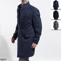 Hugo Boss Stand Collar Coats Wool Long Coats