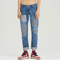 ROMANTIC CROWN Stripes Unisex Denim Plain Jeans & Denim