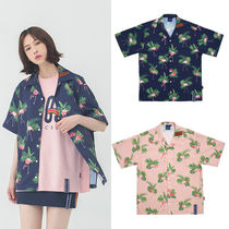 ROMANTIC CROWN Tropical Patterns Casual Style Unisex Street Style Medium