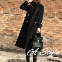 Plain Long Office Style Chester Coats