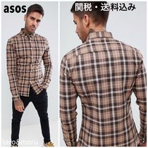 ASOS Button-down Other Check Patterns Street Style Long Sleeves