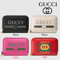 GUCCI Plain Leather Coin Purses